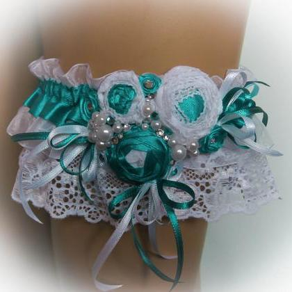 Turquoise Wedding Garter Set with S..