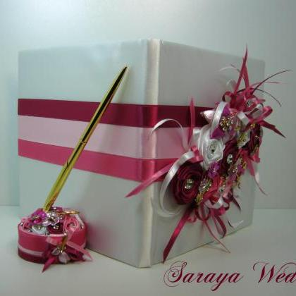 Wedding Guest Book and Pen Set, Whi..