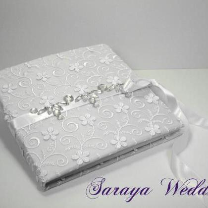 Lace Wedding Guest Book and Pen Set..