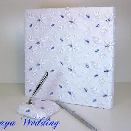 Lace Wedding Guest Book and Pen in ..