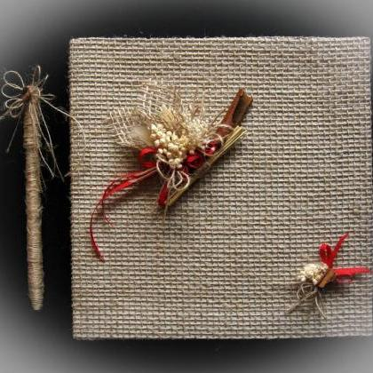 Rustic Wedding Guest Book With Pen,..