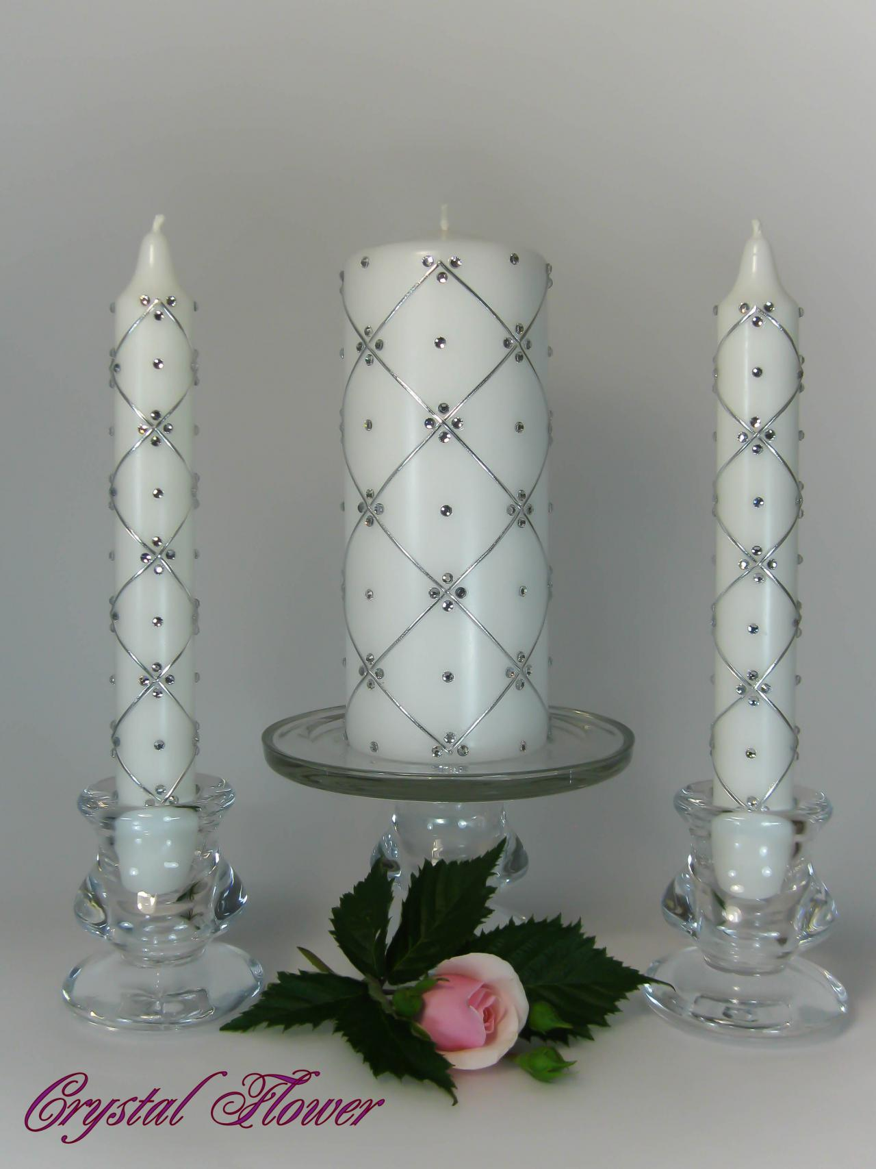 Wedding Unity Candles with Swarovski Crystals