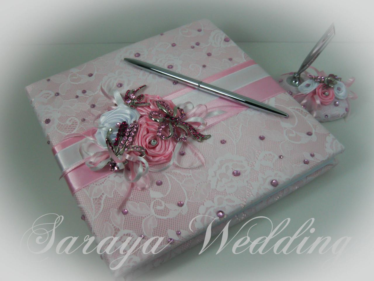 Lace Wedding Guest Book and Pen Set, Blush Pink and White, Wedding Guestbook, Wedding Sign In Book, Personalized Guest Book, Spring Wedding