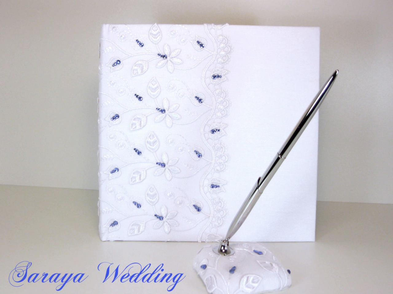 Lace Wedding Guest Book and Pen in White Silk, Blue Crystals, Personalized Guest Book, Wedding Guestbook, Wedding Sign In Book, Iced Book