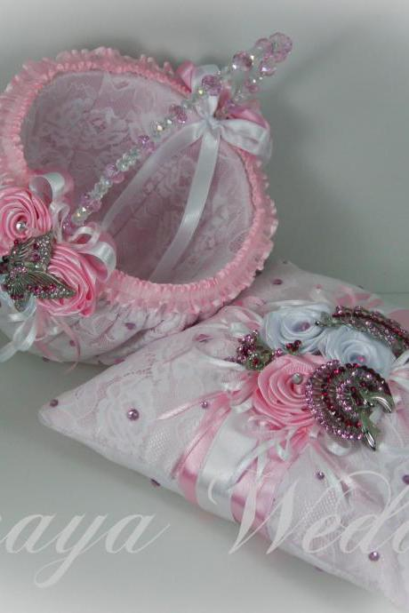 Flower Girl Basket and Ring Bearer Pillow Set in Pink Satin, White Lace, Pink and White Roses, Swarovski Crystals and Crystal Brooch