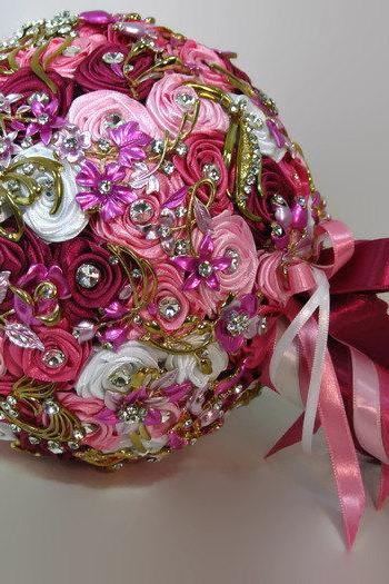 Pink, Red and White Wedding Brooch Bouquet, Bridal Bouquet, Rose Bouquet, Silk Wedding Bouquet, Bridesmaid Bouquet, Brides Bouquet