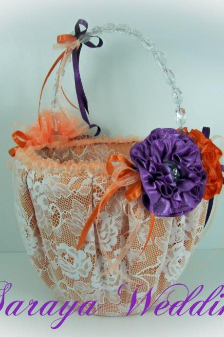 Flower Girl Basket, Wedding Basket in Orange Satin, Orange and Purple Flowers, Wedding Favors Basket, Wedding Gifts Basket
