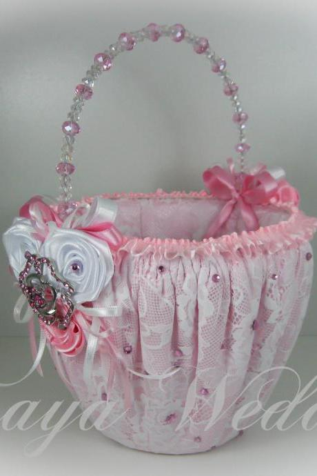Flower Girl Basket, Wedding Basket in Pink Satin, White Lace, Pink and White Roses, Swarovski Crystals and Crystal Brooch, Wedding Favors
