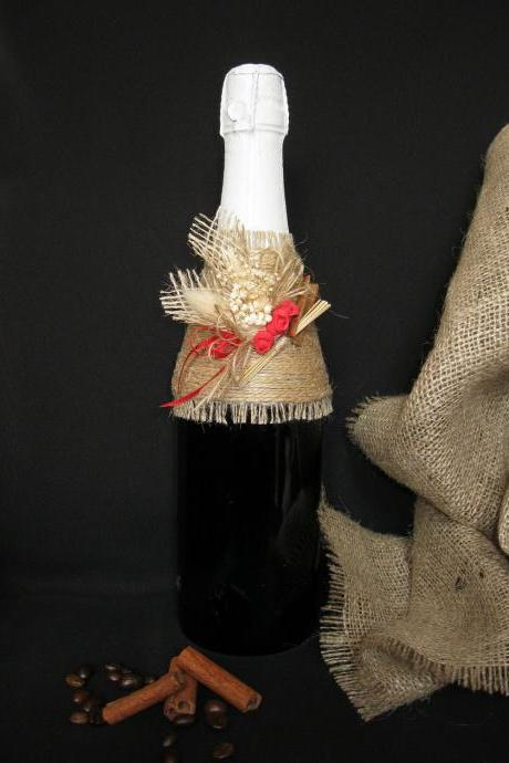 Rustic Wedding Champagne Decoration, Wedding Decorations, Wedding Supplies, DIY Decorations, Bottle Decorations