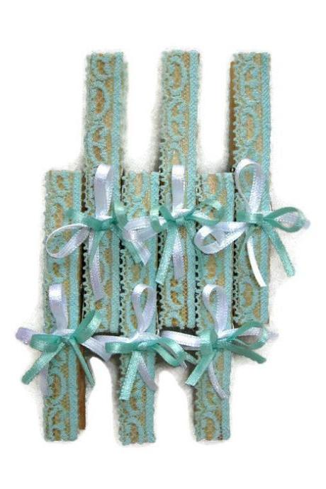 48 pcs Wedding Wooden Clothes Pins in Turquoise Lace, Clothespins, Clothes pin crafts, Wood clothespins, Wedding Favors, Wedding Gifts