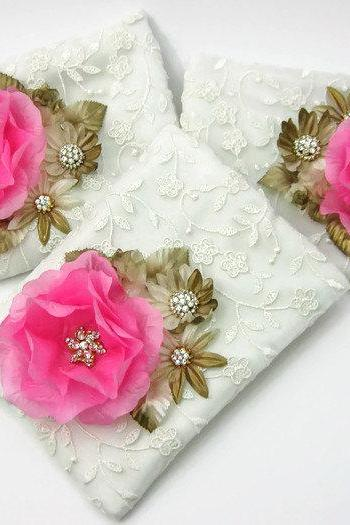 Zippered Wedding Purses with Blush Flowers Set of 3, Ivory Lace Clutch, Bridesmaid Clutch, Rhinestone Pouch, Cosmetic Bag, Makeup Bag