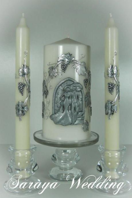 "Wedding Unity Candles ""Bride and Groom"", Handmade and Hand Decorated, Pillar Candle, Taper Candles, Personalized Candles, Unity Candle Set"