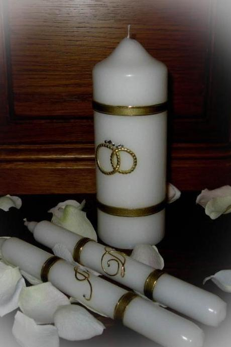 "Wedding Unity Candles ""I Do"", Swarovski, Handmade, Hand Decorated, Pillar Candle, Taper Candles, Personalized Candles, Unity Candle Set"