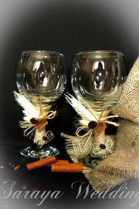 Rustic Style Wedding Glasses with Coffee Beans, Toasting Flutes, Champagne Glasses, Wine Glasses, Champagne Flutes, Toasting Glasses