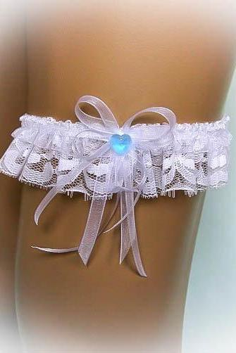 Lace Wedding Garter with a Crystal Heart, Bridal Garter, Vintage Garter, Stretch Garter, Crystal Garter, Something Blue, Prom Garter