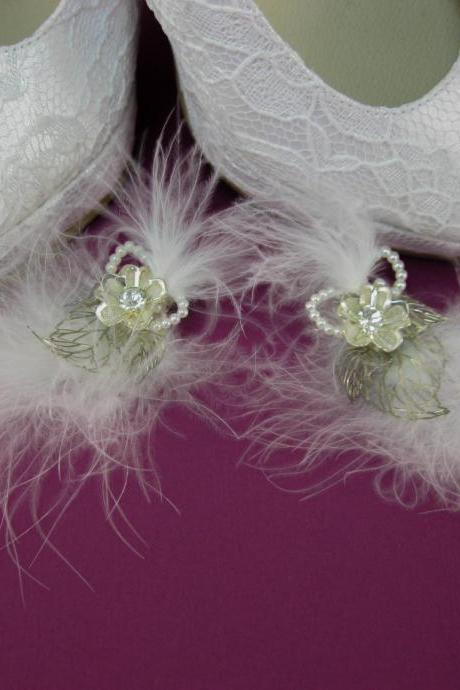 Crystal Wedding Shoe Clips, Marabou Bridal Shoe Clips, Shoe Decorations, Rhinestone Shoe Clips, Shoe Embellishments