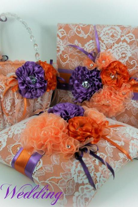 Ring Pillow, Flower Girl Basket, Guest Book, Wedding Set, Tangerine, Lilac, Peach, Gift Set, Bridal Set, Orange and Purple Wedding Set