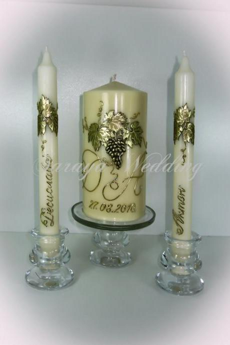 "Wedding Unity Candles "" Golden Grapes'', Pillar Candle, Taper Candles, Handmade Candles, Personalized Candles, Unity Candle Set"
