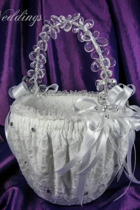 Flower Girl Basket, Wedding Basket in White Satin, White Lace, White Ribbons, Crystals and Butterflies, Wedding Favors, Wedding Gifts