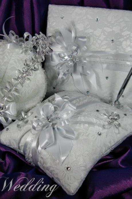 Wedding Set, Guest Book, Flower Girl Basket, Ring Bearer Pillow, White Satin, White Lace, White Ribbons, Crystals and Butterflies