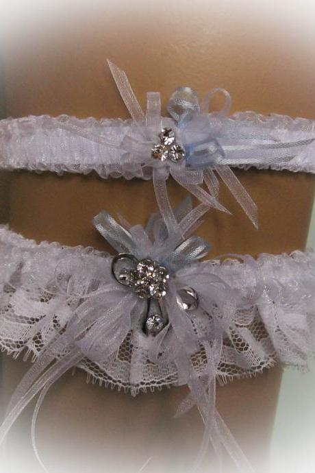 Lace Wedding Garter Set with Crystal Brooch, White Garter, Bridal Garter Set, Vintage Garter, Stretch Garter, Crystal Garter, Prom Garter