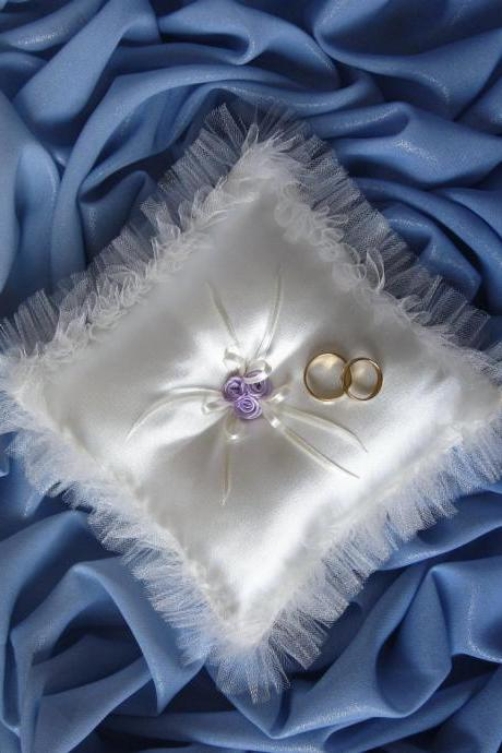 Satin Ring Bearer Pillow, Lavender Purple Roses, Wedding Pillow, White Ring Pillow, Ring Boy Pillow, Custom Ring Pillow, Wedding Ring Holder