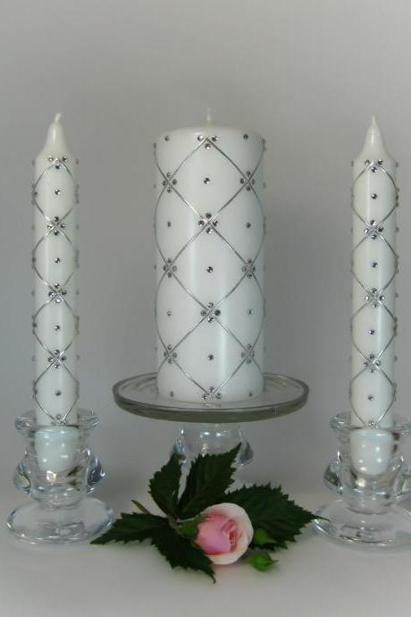 Wedding Unity Candles with 300 Swarovski Crystals, Pillar Candle, Taper Candles, Handmade Candles, Personalized Candles, Unity Candle Set