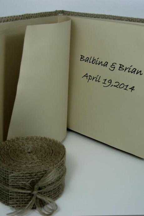 Rustic Wedding Guest Book Burlap and Flax, Personalized Guest Book, Wedding Guestbook, Wedding Sign In Book, Fall Wedding, Country Wedding