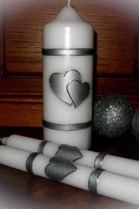 Handmade Hand Decorated Wedding Unity Candles 'Two Hearts', Pillar Candle, Taper Candles, Personalized Candles, Unity Candle Set