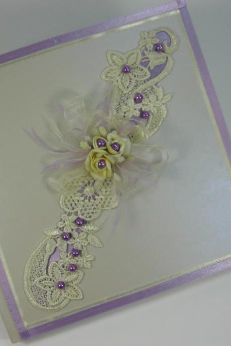Wedding Guest Book Ivory Lace, Purple Pearls, Personalized Guest Book, Wedding Guestbook, Wedding Sign In Book, Ivory Wedding, Memories
