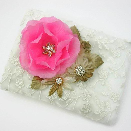 Zippered Wedding Purse with Blush Flower, Ivory Lace Clutch, Bridesmaid Clutch, Rhinestone Pouch, Cosmetic Bag, Makeup Bag