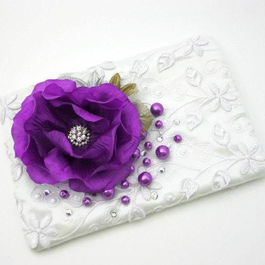 Zippered Wedding Purse with Lilac Purple Flowers and Pearls, Lace Clutch, Bridesmaid Clutch, Rhinestone Pouch, Cosmetic Bag, Makeup Bag